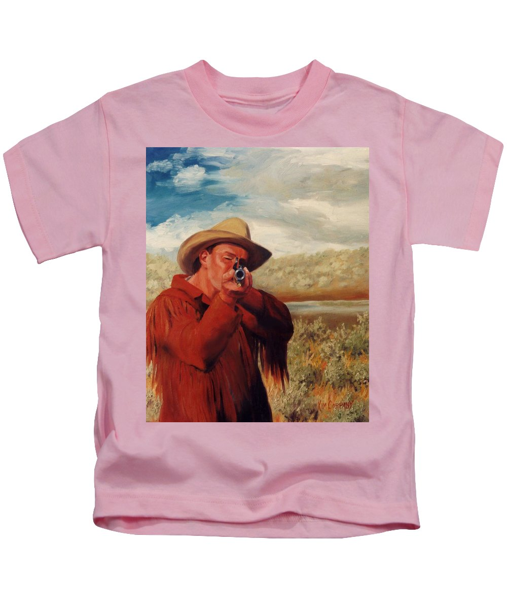 Cowboy Kids T-Shirt featuring the painting Freeze  Rifleman With Muzzle Loader Western Painting by Kim Corpany