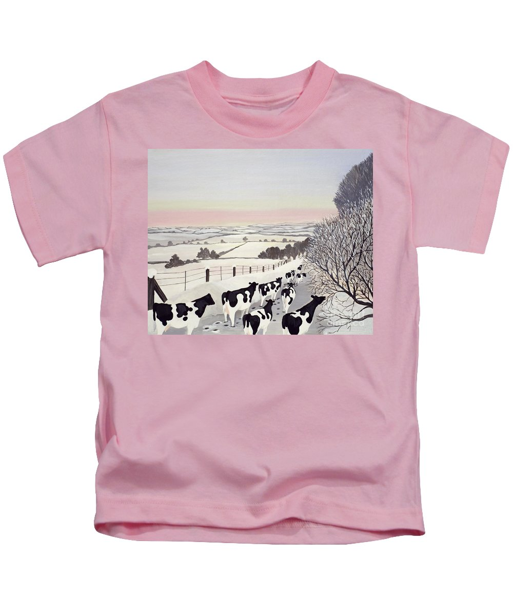 Fence; Cow; Cows; Landscape; Winter; Snow; Tree; Trees; Friesians; Animal; Farm Animal Kids T-Shirt featuring the painting Friesians In Winter by Maggie Rowe