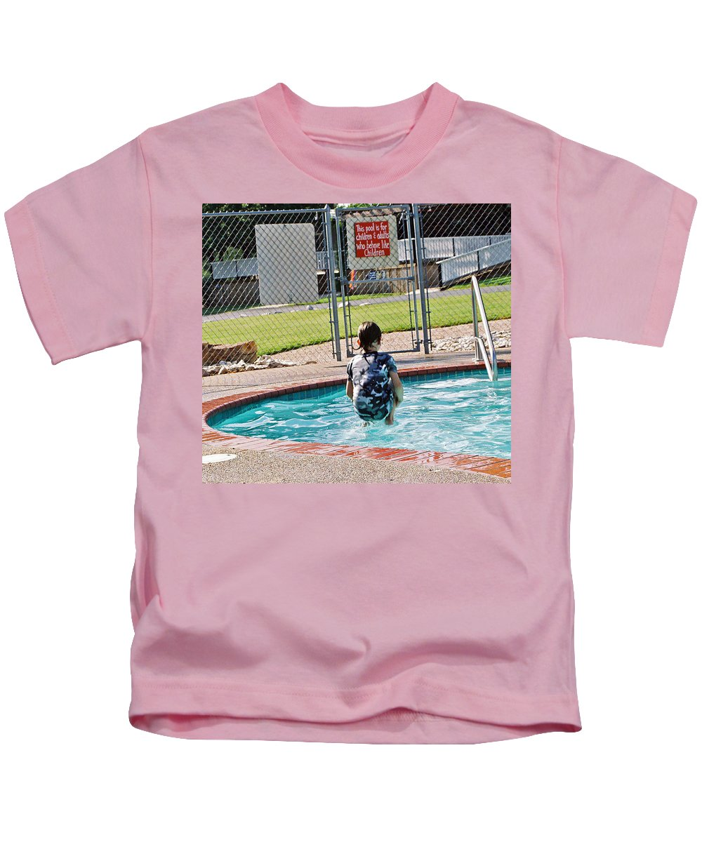 Water Kids T-Shirt featuring the photograph Frozen In Action by Cindy New