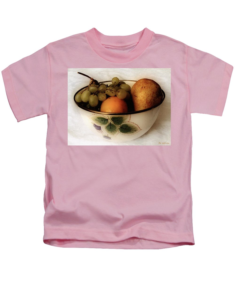 Bowl Kids T-Shirt featuring the painting Fruitbowl Retro by RC DeWinter
