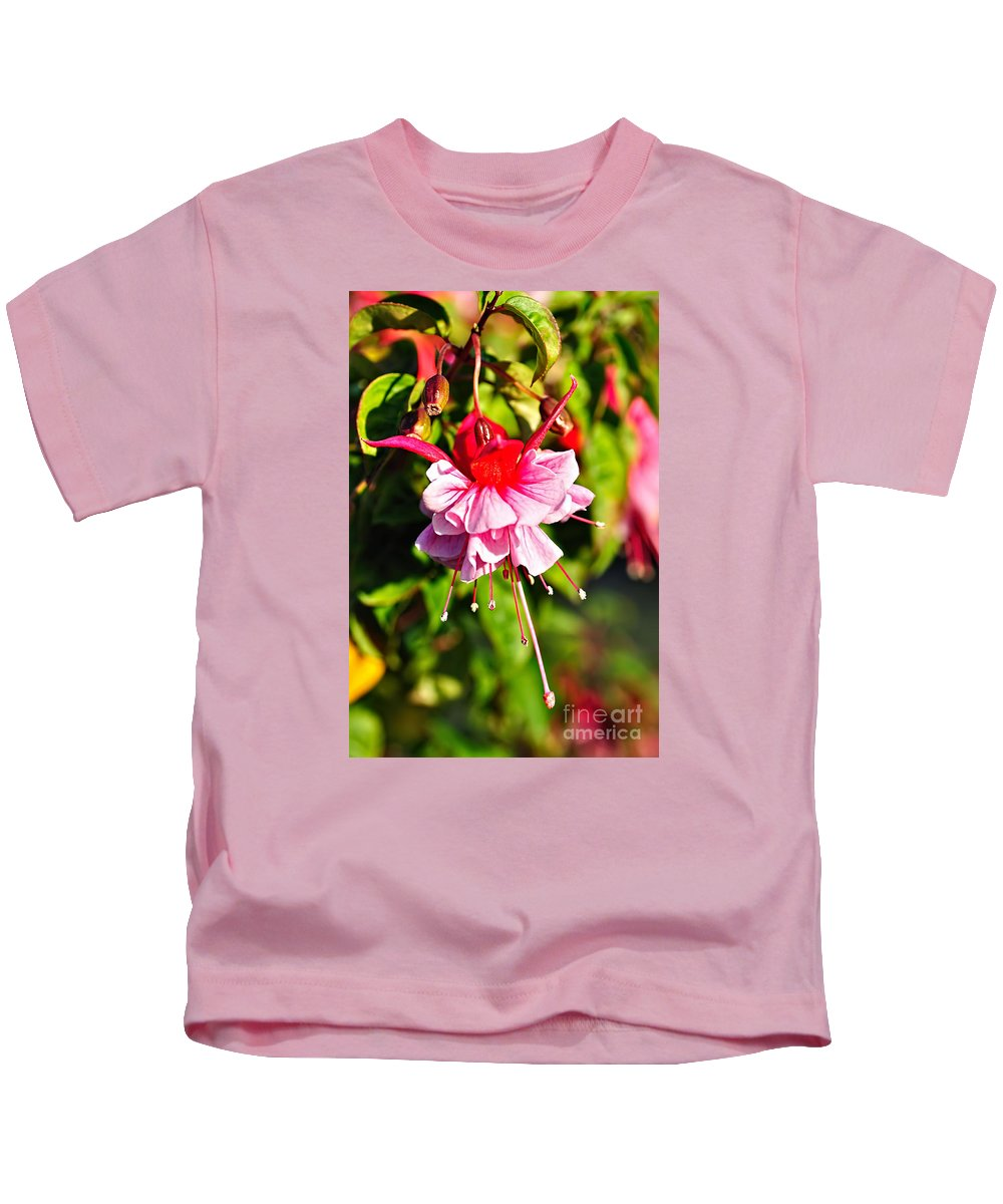 Photography Kids T-Shirt featuring the photograph Fuchsia Enjoying The Sunshine by Kaye Menner
