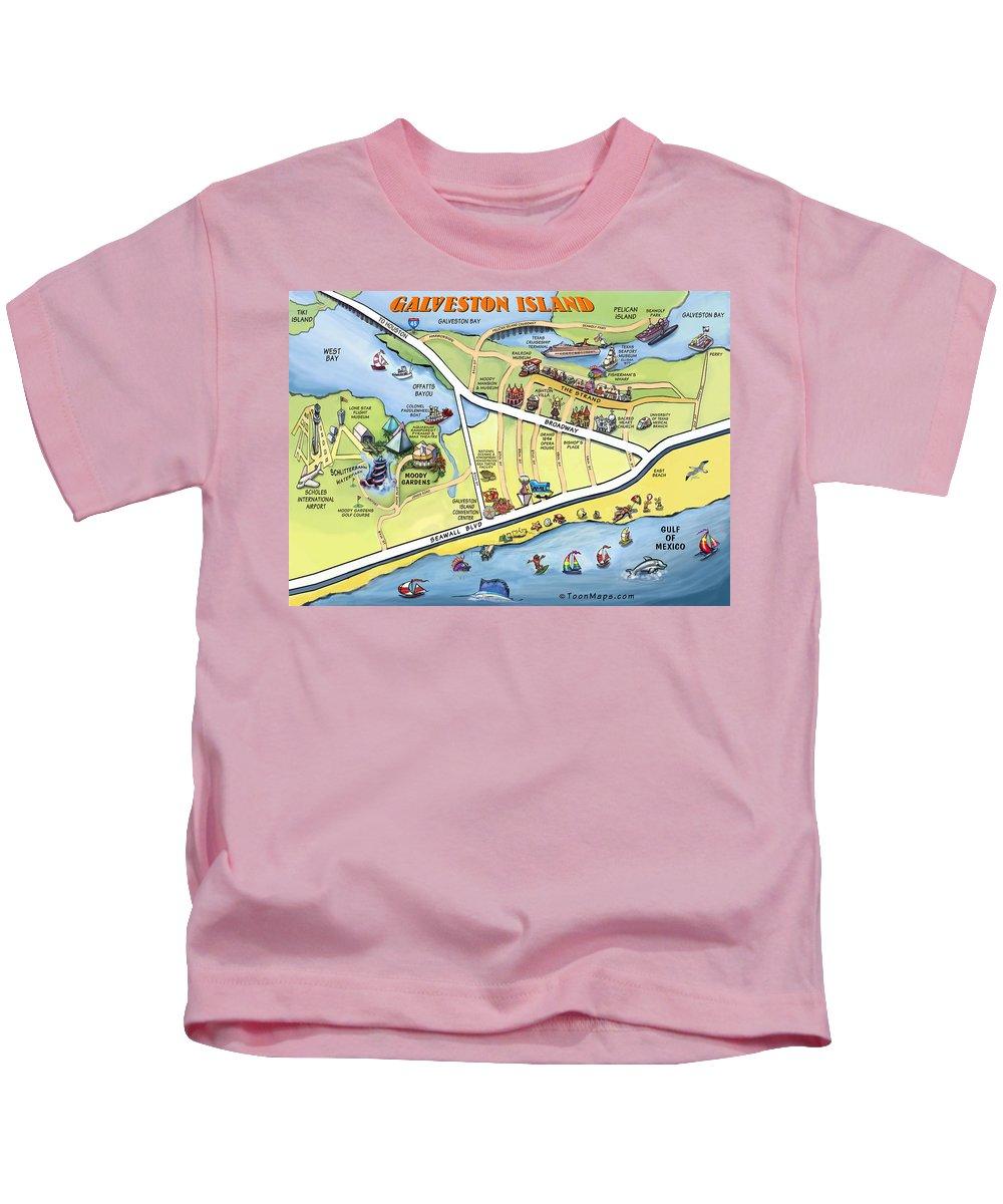 Galveston Kids T-Shirt featuring the digital art Galveston Texas Cartoon Map by Kevin Middleton