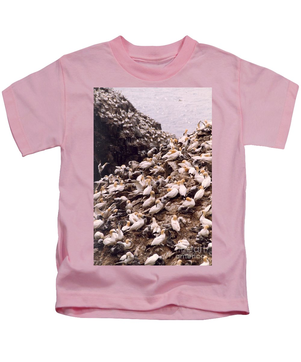 Gannet Kids T-Shirt featuring the photograph Gannet Cliffs by Mary Mikawoz