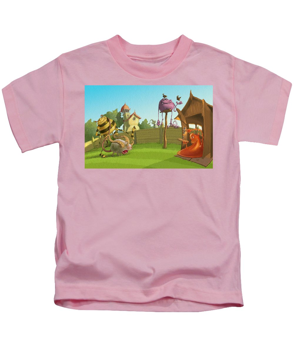 Monsters Kids T-Shirt featuring the painting Garden Monsters by Andy Catling
