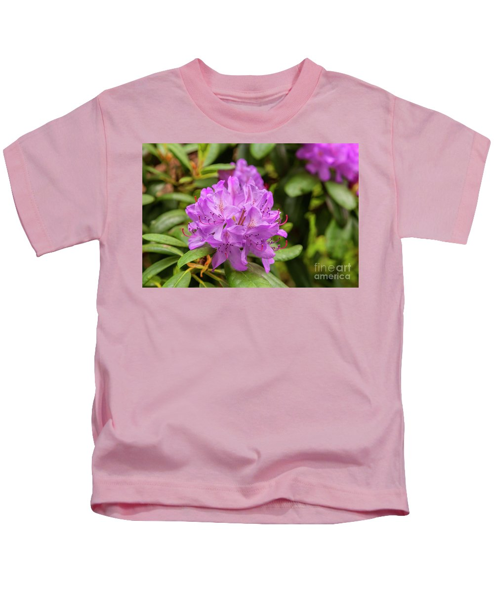 Purple Kids T-Shirt featuring the photograph Garden Rhodoendron Plant by Sophie McAulay