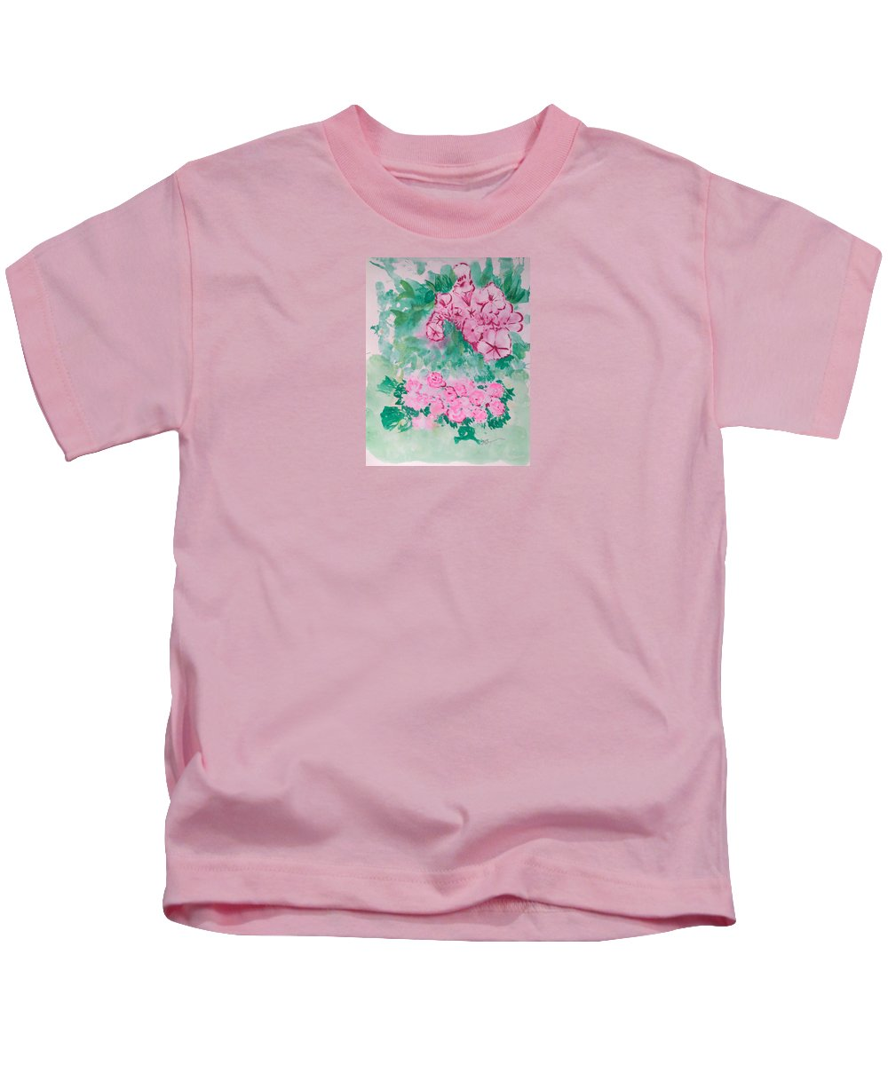 Impressionism Kids T-Shirt featuring the painting Garden With Pink Flowers by J R Seymour