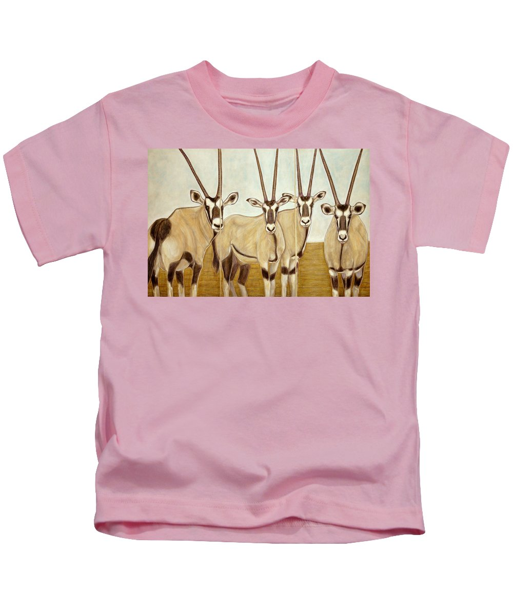 Gemsbok Kids T-Shirt featuring the painting Gemsboks Or 0ryxs Triptych by Isabelle Ehly