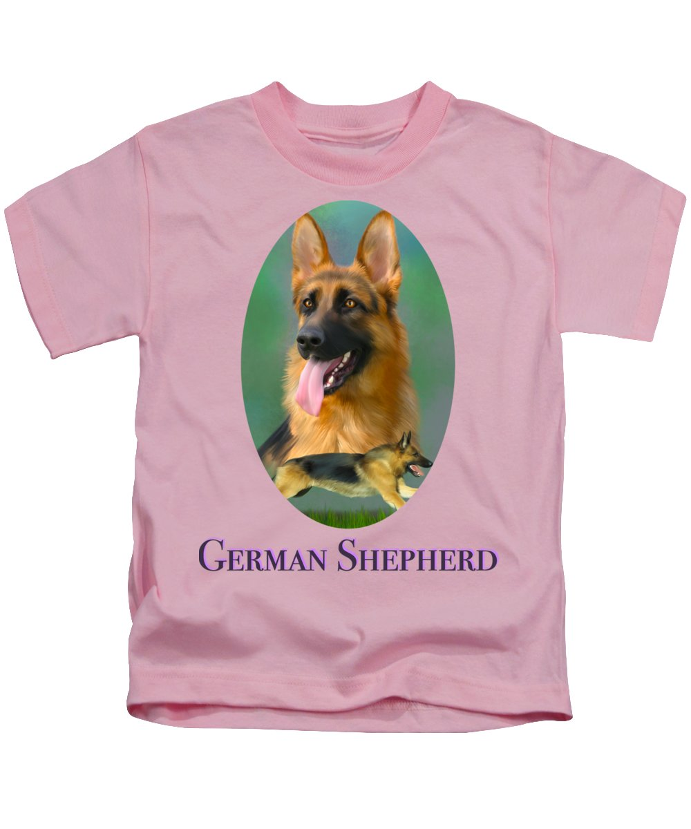 German Shepherd Kids T-Shirt featuring the painting German Shepherd With Name Logo by Becky Herrera