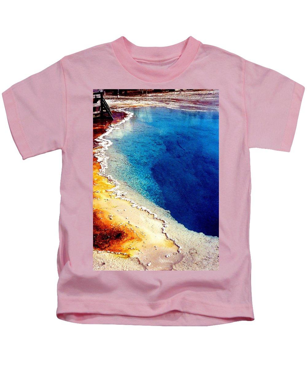 Geyser Kids T-Shirt featuring the photograph Geyser Basin by Nancy Mueller