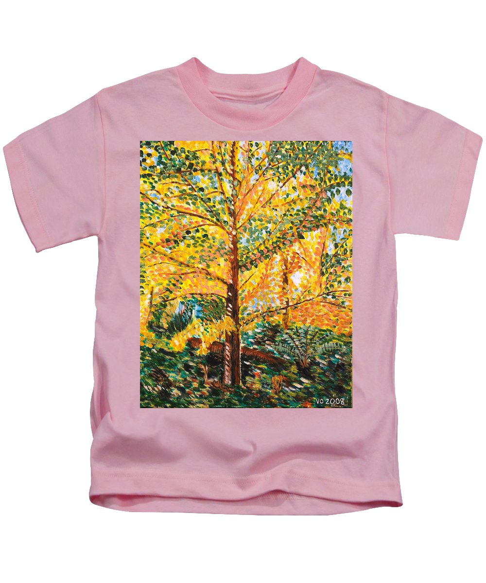 Tree Kids T-Shirt featuring the painting Gingko Tree by Valerie Ornstein