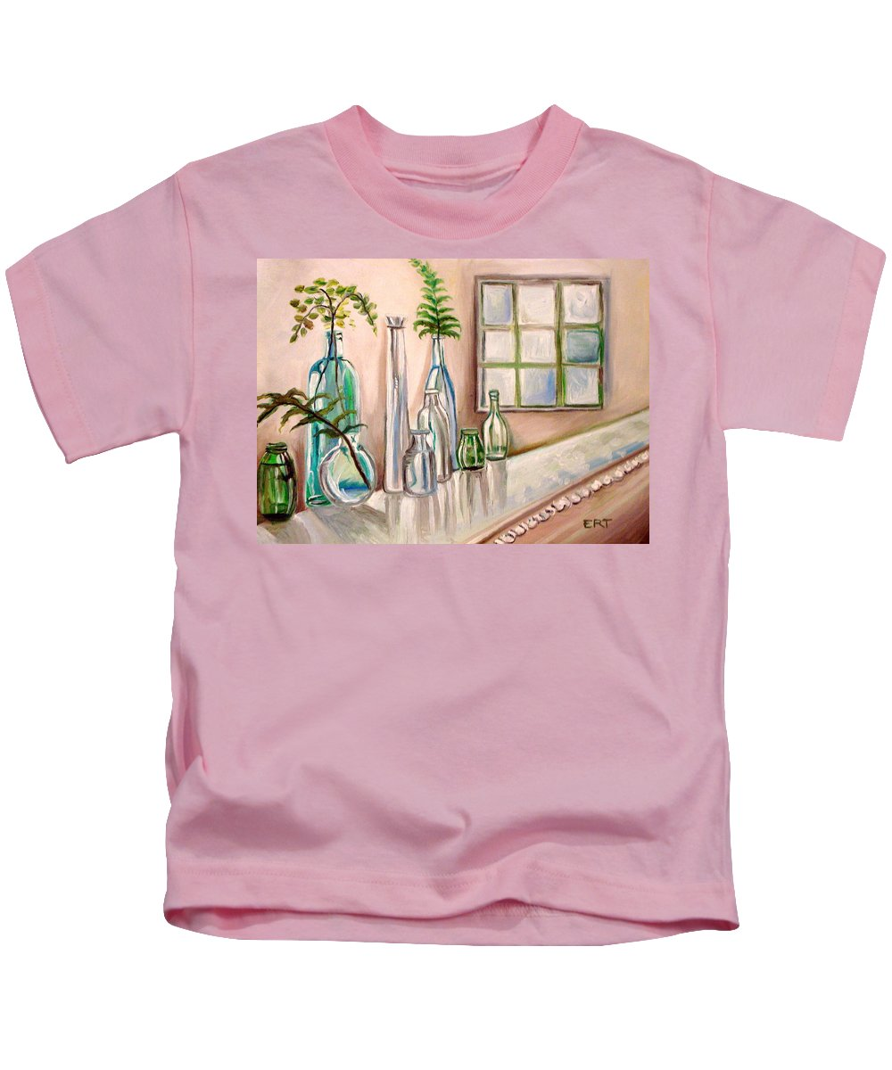 Glass Kids T-Shirt featuring the painting Glass And Ferns by Elizabeth Robinette Tyndall