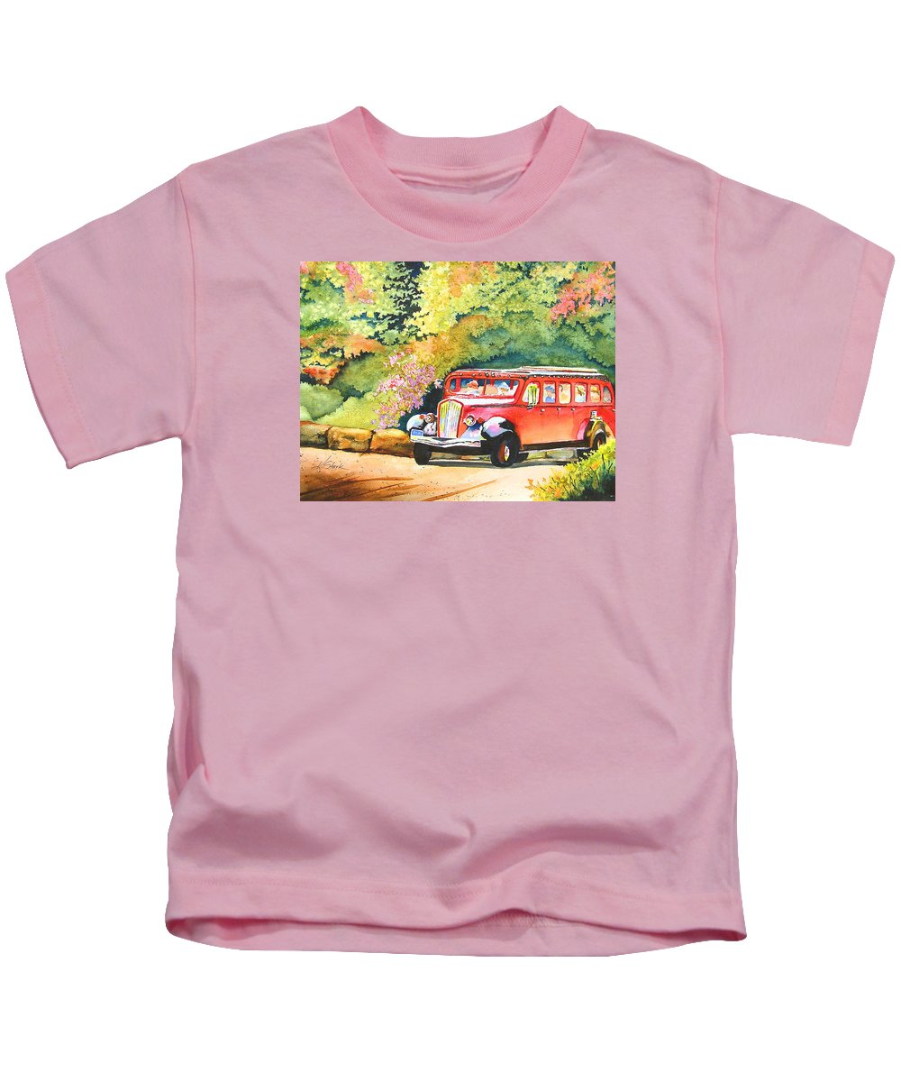 Landscape Kids T-Shirt featuring the painting Going To The Sun by Karen Stark