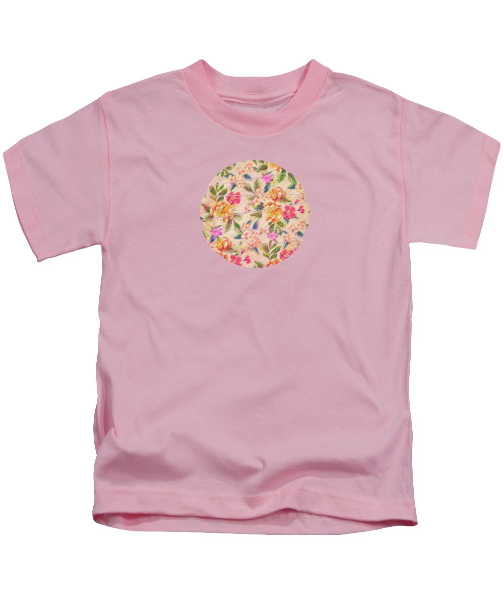 Rose Kids T-Shirt featuring the digital art Golden Flitch Digital Vintage Retro Glitched Pastel Flowers Floral Design Pattern by Philipp Rietz