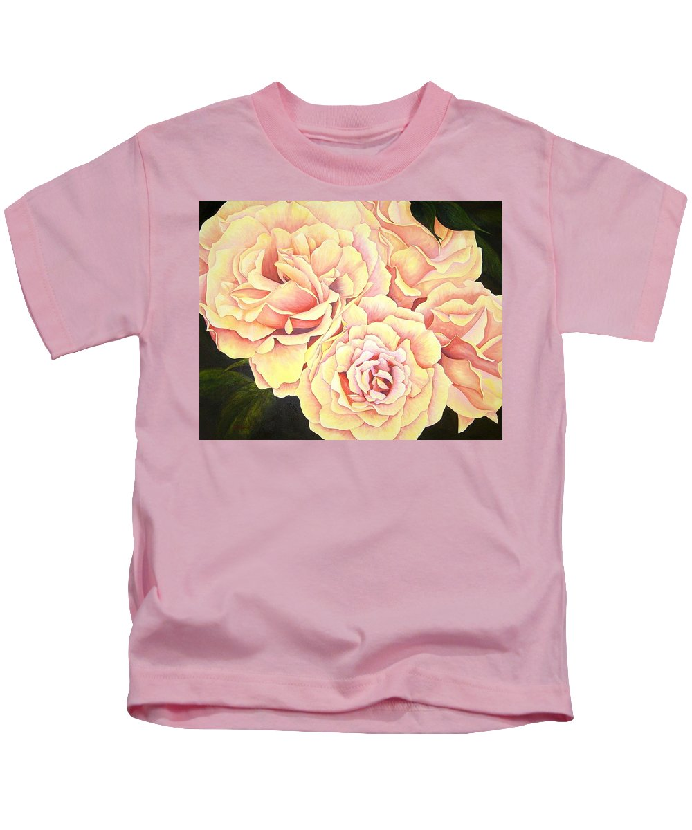 Roses Kids T-Shirt featuring the painting Golden Roses by Rowena Finn