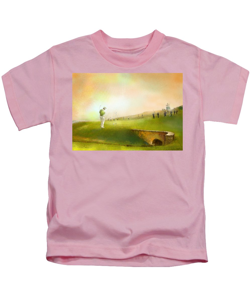 Golf Kids T-Shirt featuring the painting Golf In Scotland Saint Andrews 02 by Miki De Goodaboom