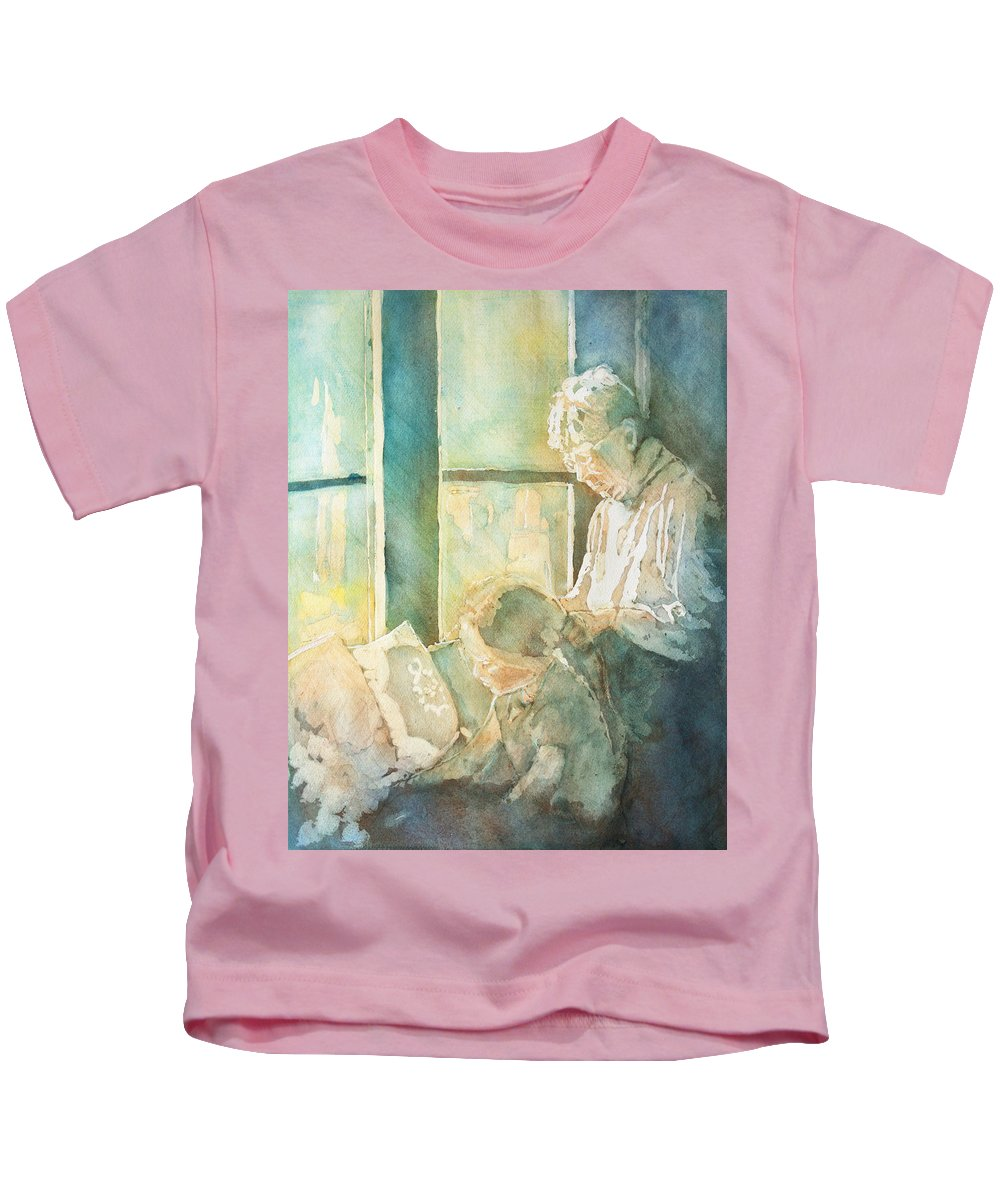 Family Kids T-Shirt featuring the painting Gramdma Braids by Jenny Armitage