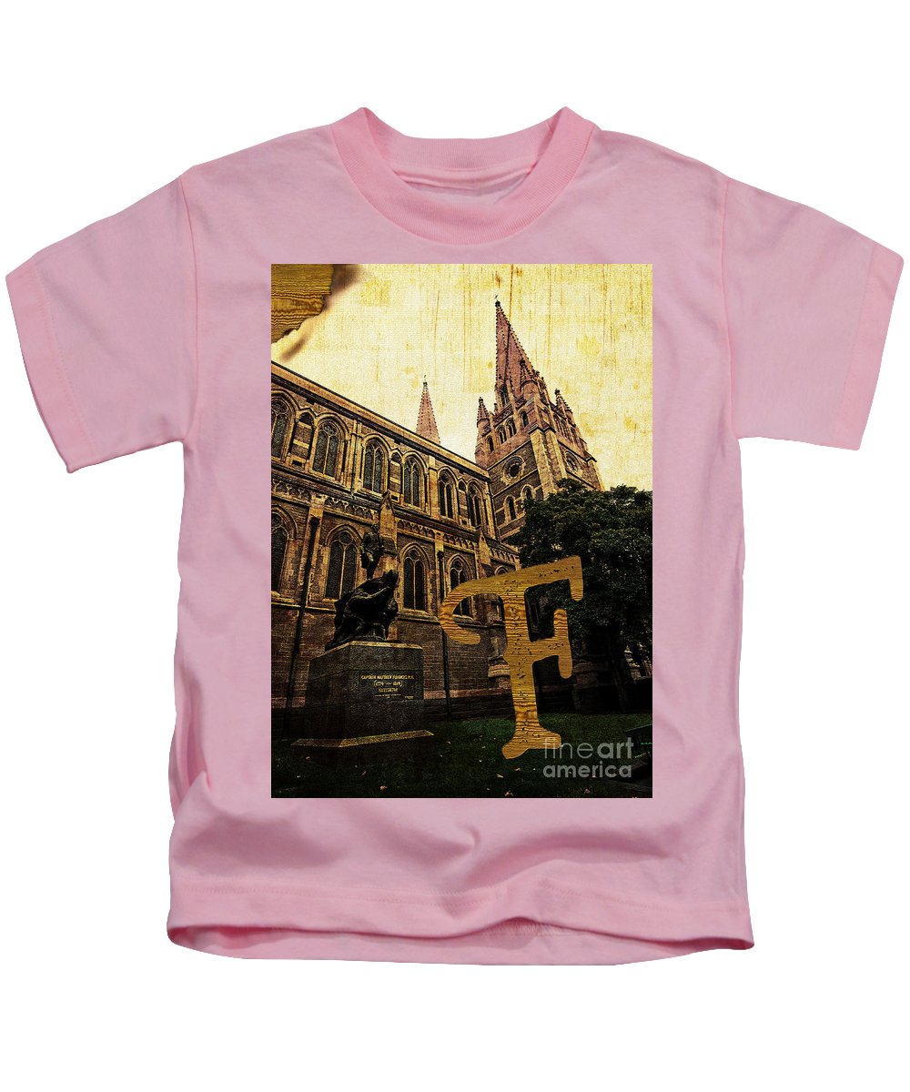 Cultural Kids T-Shirt featuring the photograph Grungy Melbourne Australia Alphabet Series Letter F Captain Matt by Beverly Claire Kaiya