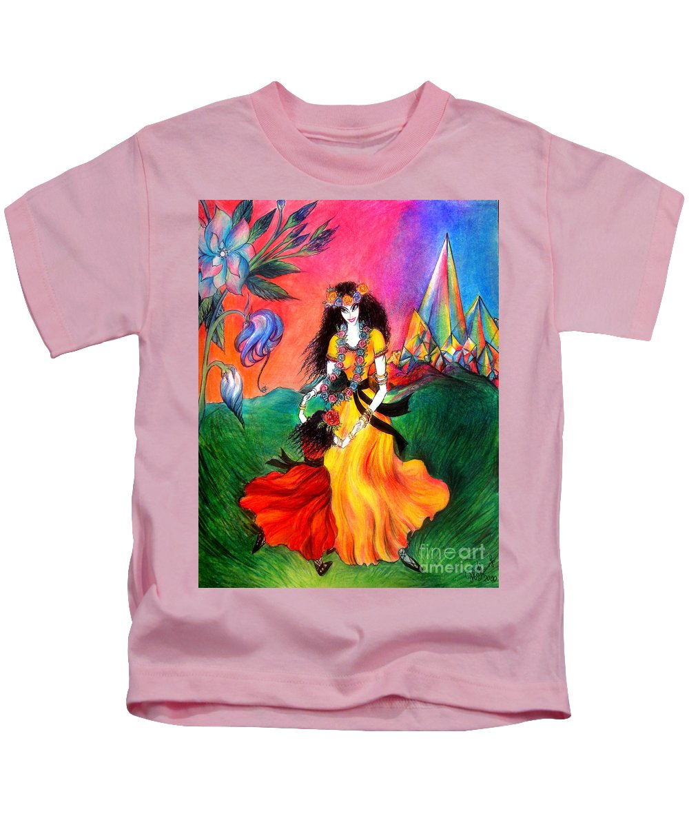 Ameynra Kids T-Shirt featuring the drawing Happy To Dance. Ameynra And Mother-queen by Sofia Metal Queen