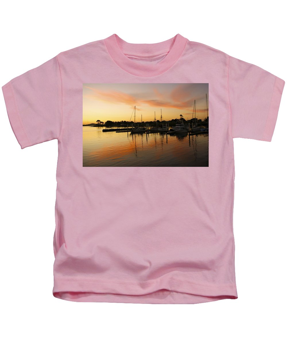Sunset Kids T-Shirt featuring the photograph Harbour Sun Set by Kathryn Potempski