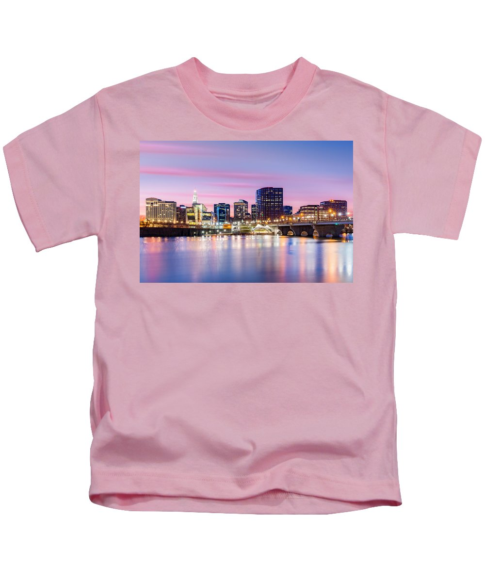 America Kids T-Shirt featuring the photograph Hartford Purple Twilight by Mihai Andritoiu