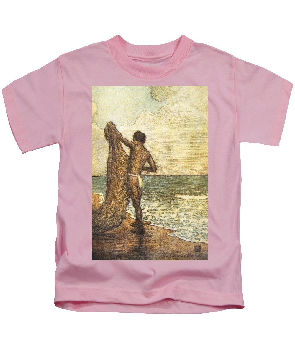 1937 Kids T-Shirt featuring the painting Hawaiian Fisherman Painting by Hawaiian Legacy Archive - Printscapes