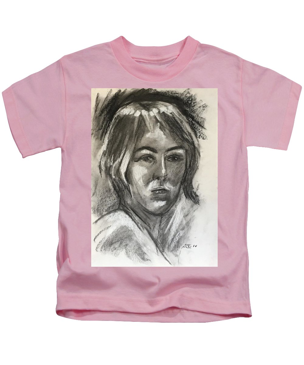 Kids T-Shirt featuring the drawing Head Of A Girl by Alejandro Lopez-Tasso
