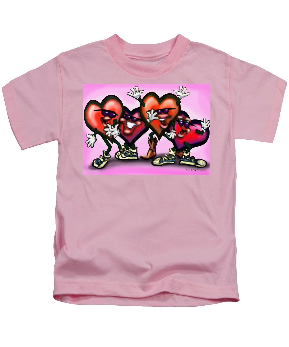 Heart Kids T-Shirt featuring the digital art Hearts Gang by Kevin Middleton