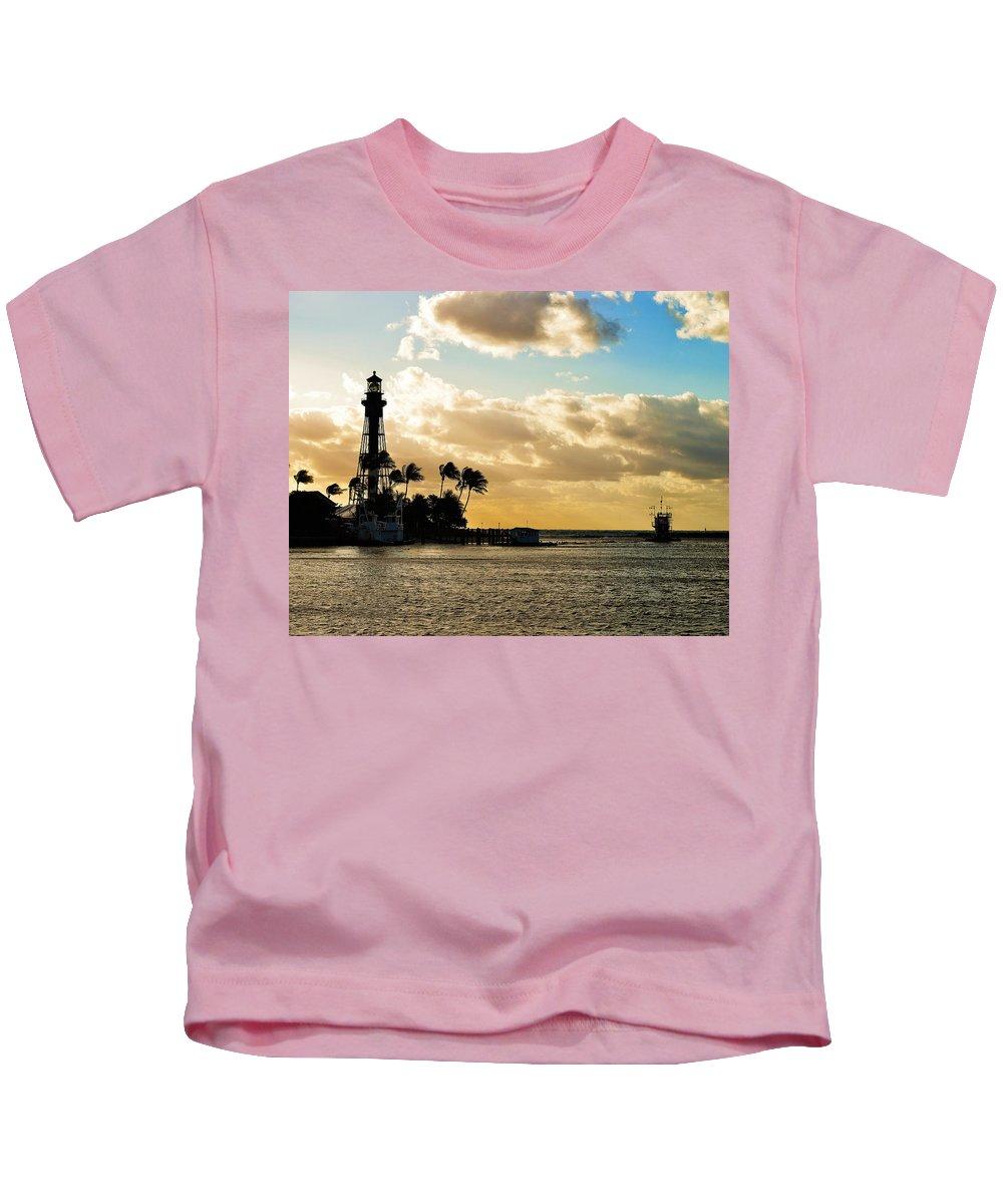 Hillsboro Inlet Light Kids T-Shirt featuring the photograph Hillsboro Inlet Light by Paul Cook