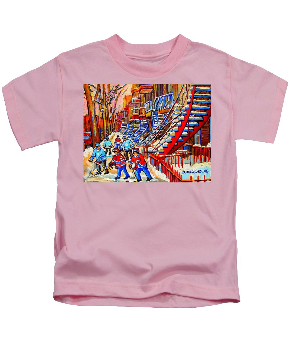 Montreal City Kids T-Shirt featuring the painting Hockey Game Near The Red Staircase by Carole Spandau