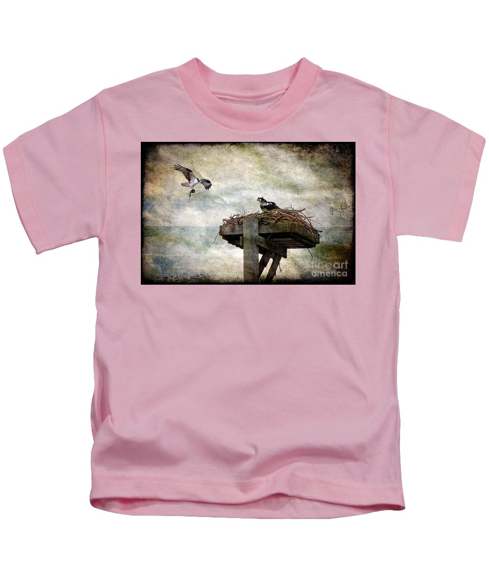 Osprey Kids T-Shirt featuring the photograph Homebuilding by Lois Bryan
