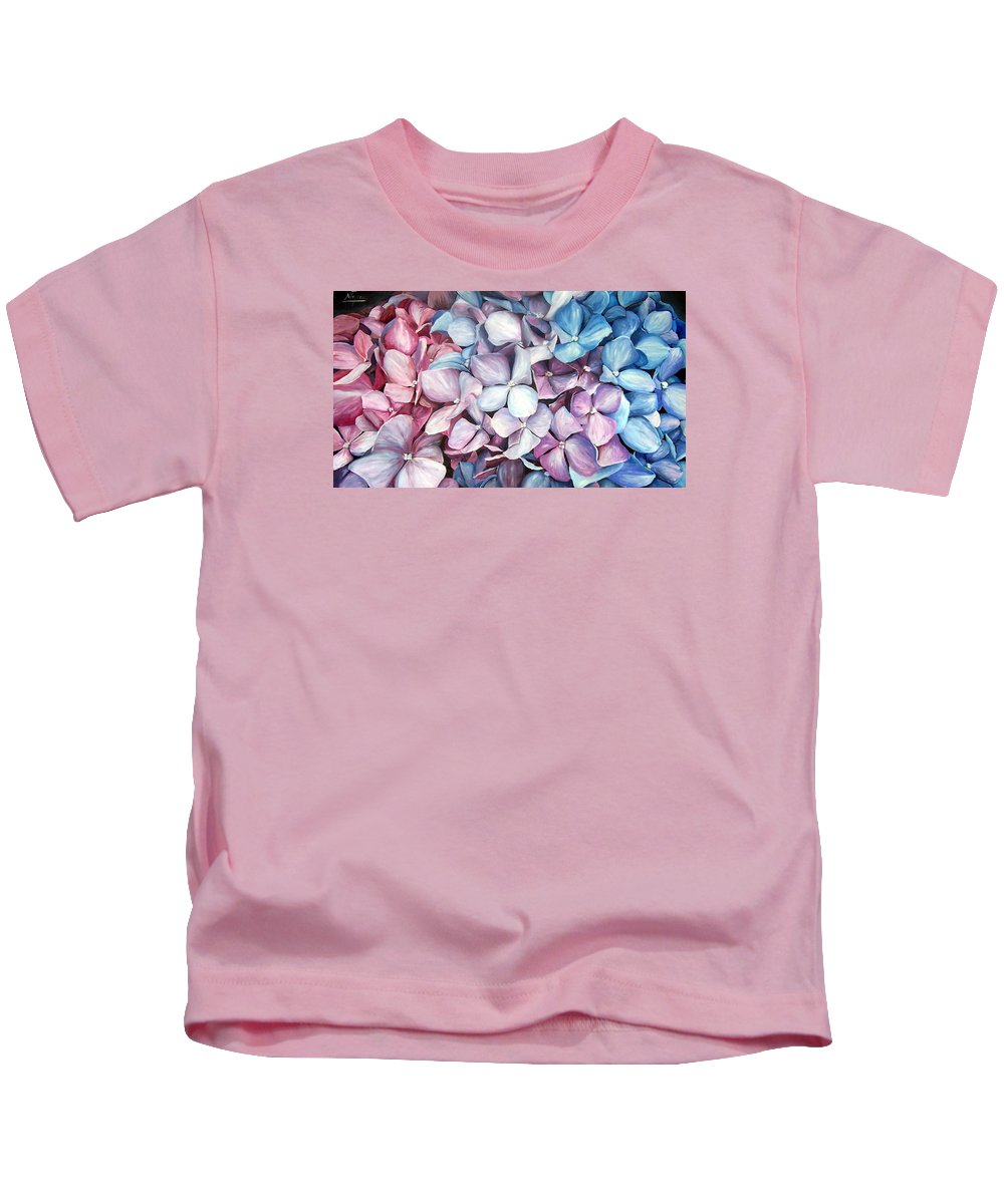 Flowers Nature Blue Violet Macro Kids T-Shirt featuring the painting Hortensias by Natalia Tejera