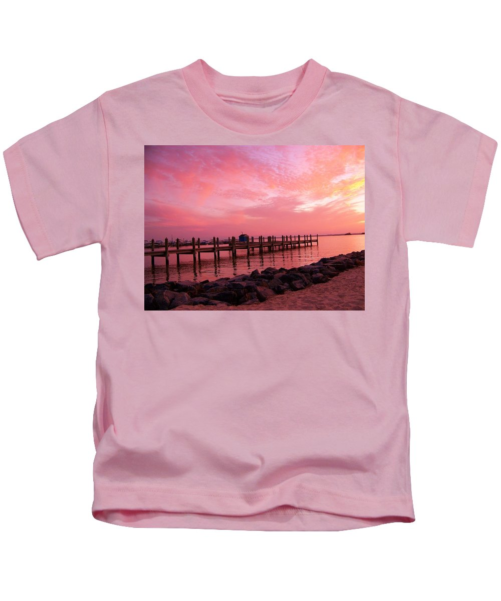 Dock Kids T-Shirt featuring the photograph Hot Bay Sunset by Trish Tritz