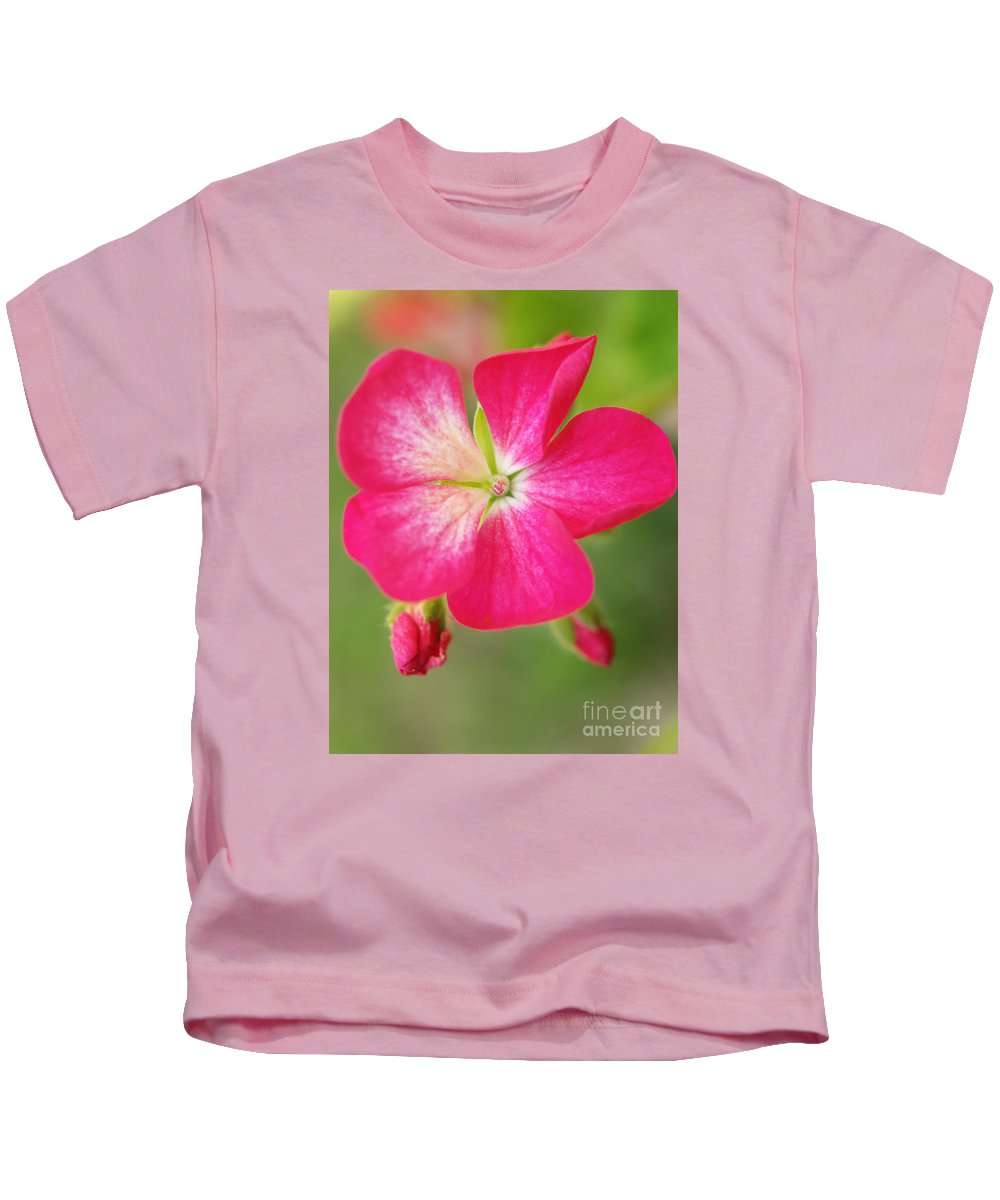 Flowers Kids T-Shirt featuring the photograph Hot Pink Geranium On A Brilliant Summer Day by Dorothy Lee