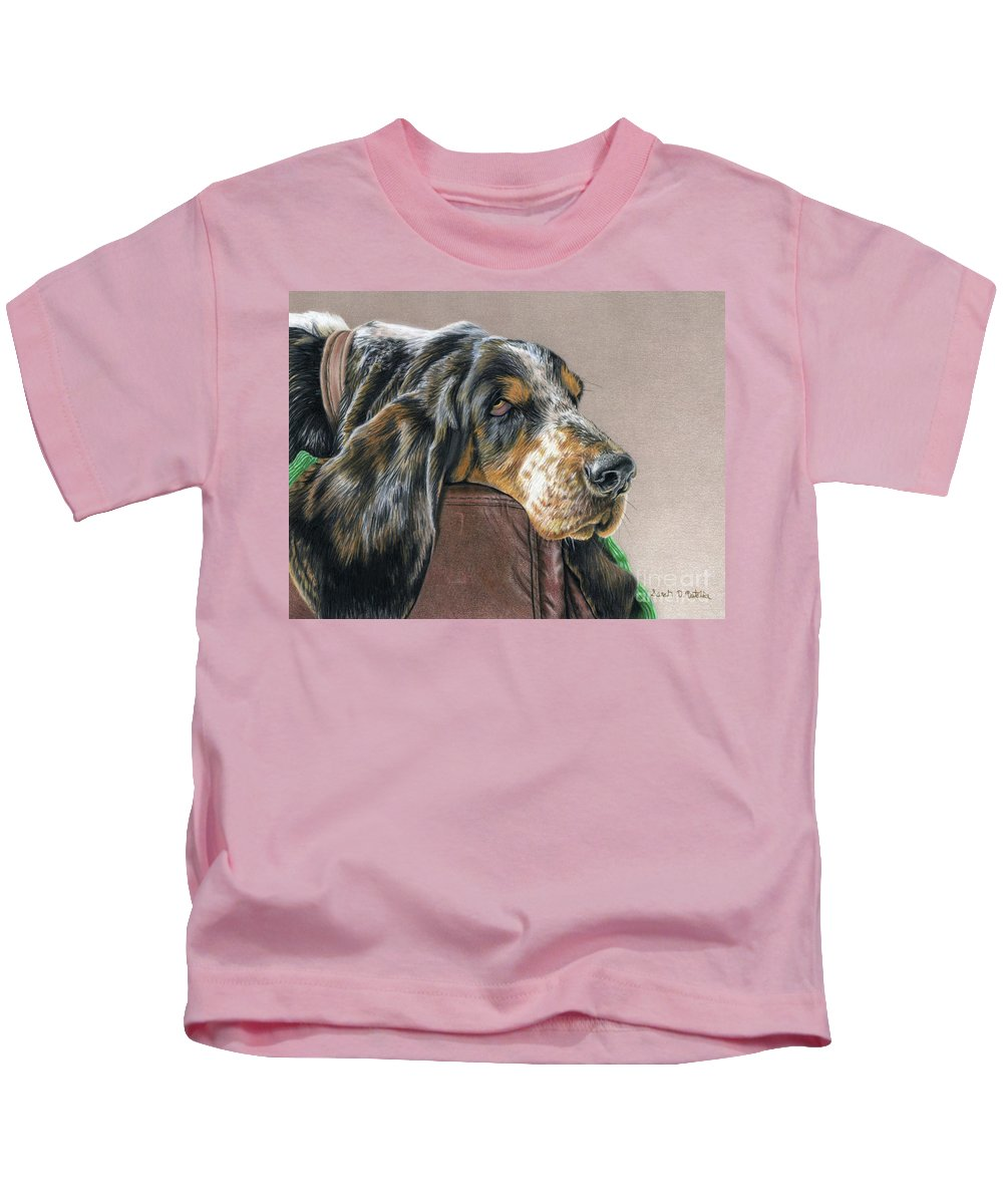 Hound Dog Kids T-Shirt featuring the painting Hound Dog by Sarah Batalka
