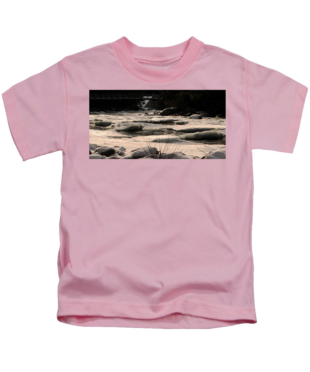 Back Roads Of New Hampshire January 28 Kids T-Shirt featuring the photograph Ice On The Pemigewassett by Bill Driscoll