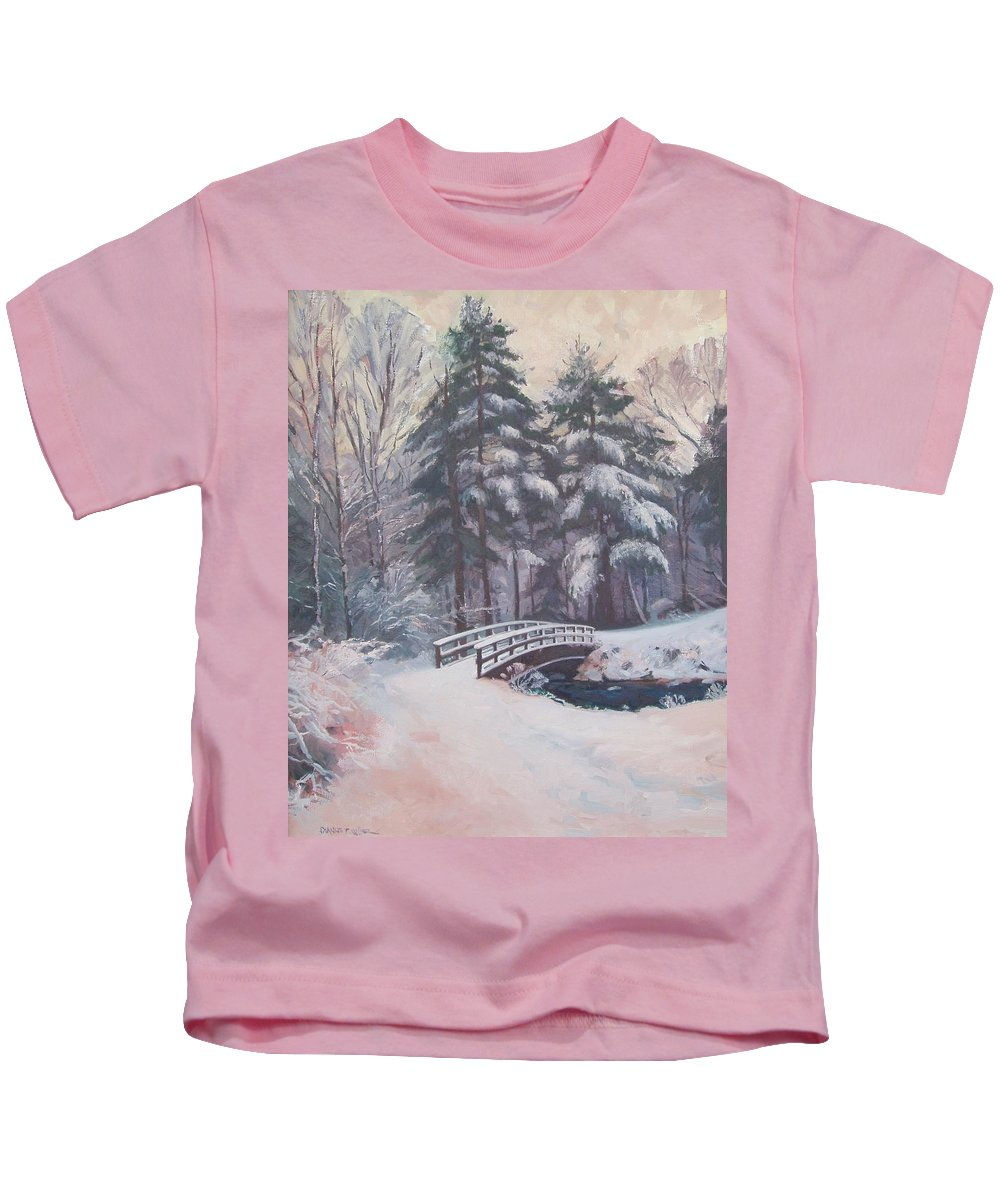 Landscape Kids T-Shirt featuring the painting Icy Stream by Dianne Panarelli Miller