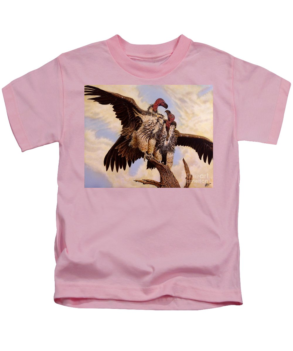 Vulture Kids T-Shirt featuring the painting In The Eye Of The Beholder by Greg and Linda Halom