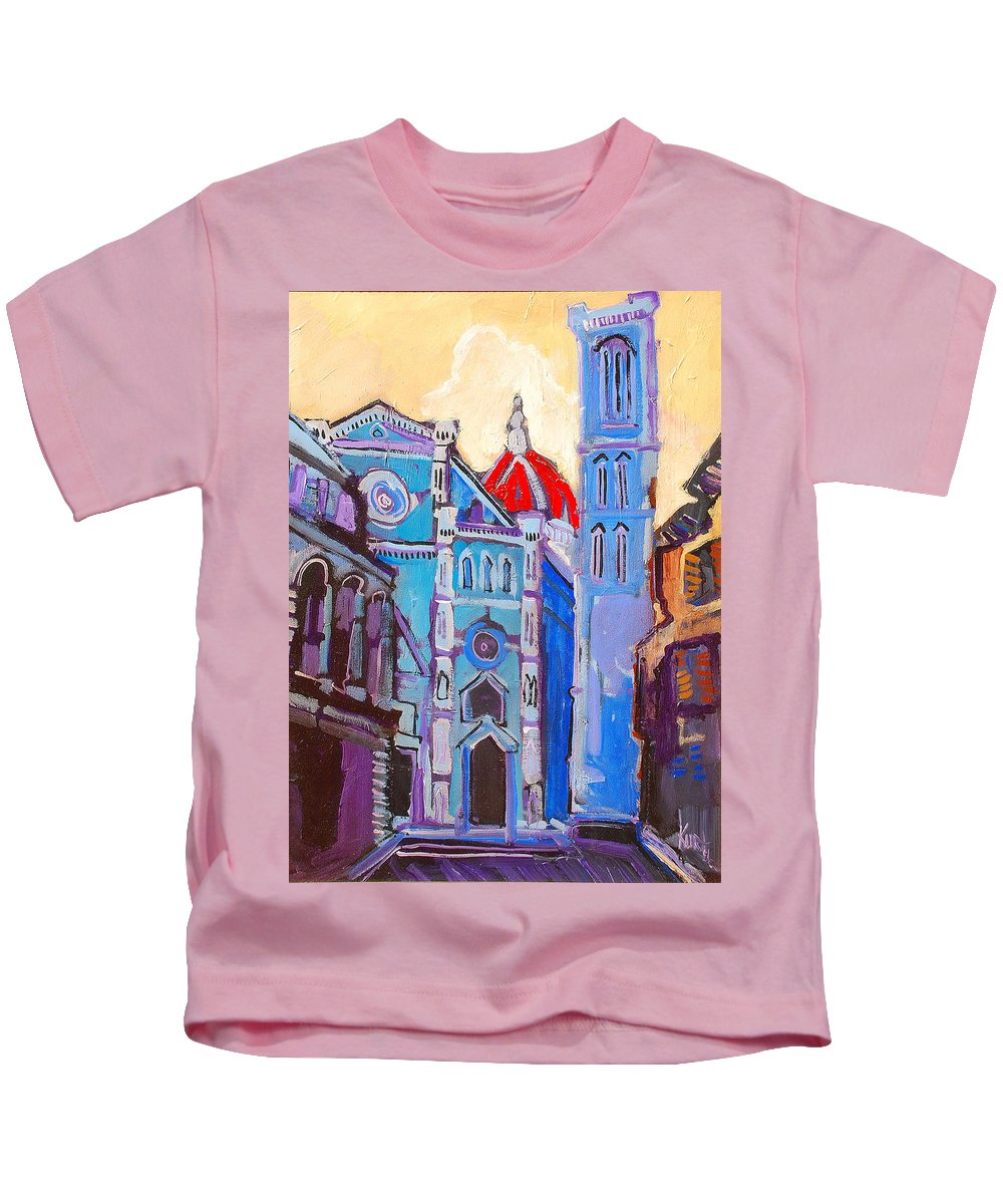 Florence Kids T-Shirt featuring the painting In The Middle Of by Kurt Hausmann