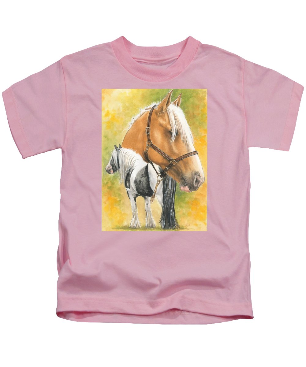 Draft Horse Kids T-Shirt featuring the mixed media Irish Cob by Barbara Keith