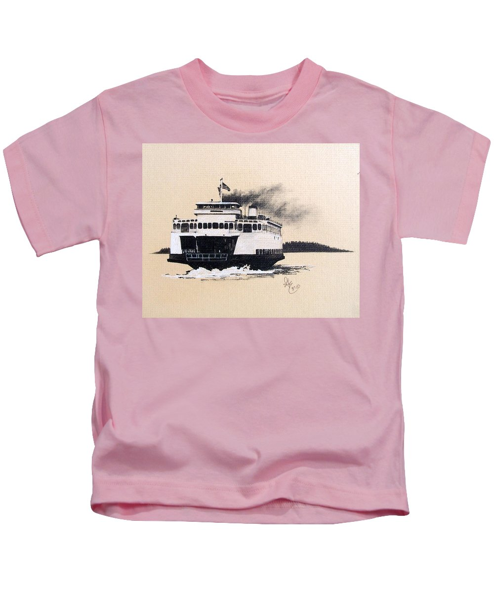 Ferry Kids T-Shirt featuring the pastel Issaquah by Gale Cochran-Smith