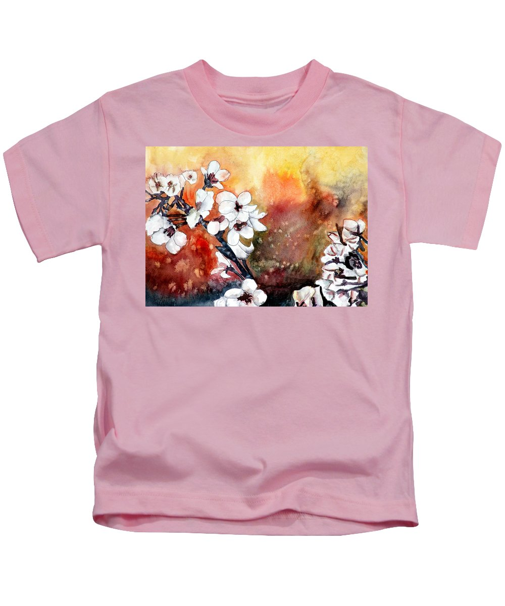 Watercolor Kids T-Shirt featuring the painting Japanese cherry blossom abstract flowers by Derek Mccrea