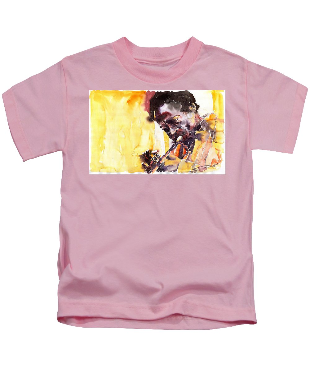 Jazz Music Watercolor Watercolour Miles Davis Trumpeter Portret Kids T-Shirt featuring the painting Jazz Miles Davis 6 by Yuriy Shevchuk