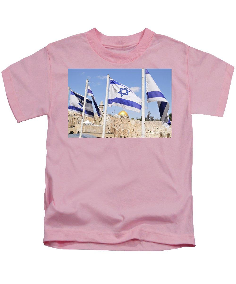 Jerusalem Kids T-Shirt featuring the photograph Jerusalem Wailing Wall by Ohad Shahar