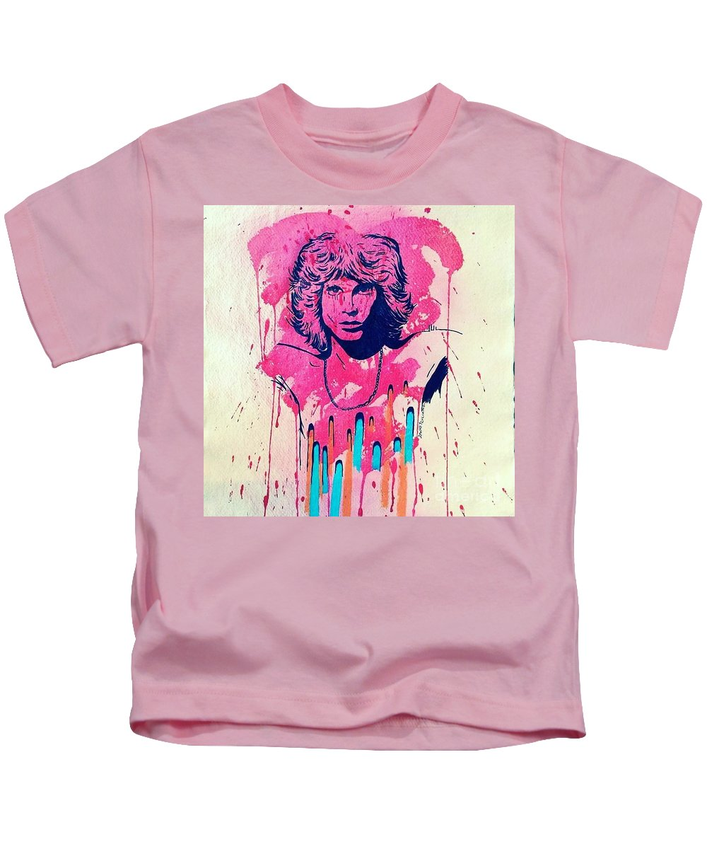 The Doors Kids T-Shirt featuring the painting Jim Morrison by Robert Loake