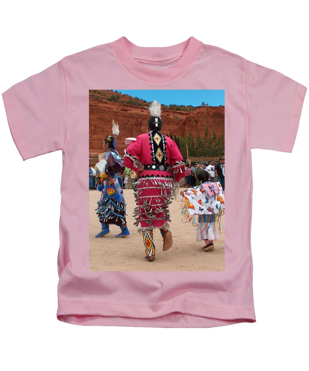 Pow-wow Kids T-Shirt featuring the photograph Jingle Dress And Fancy Shawl Dancers by Tim McCarthy