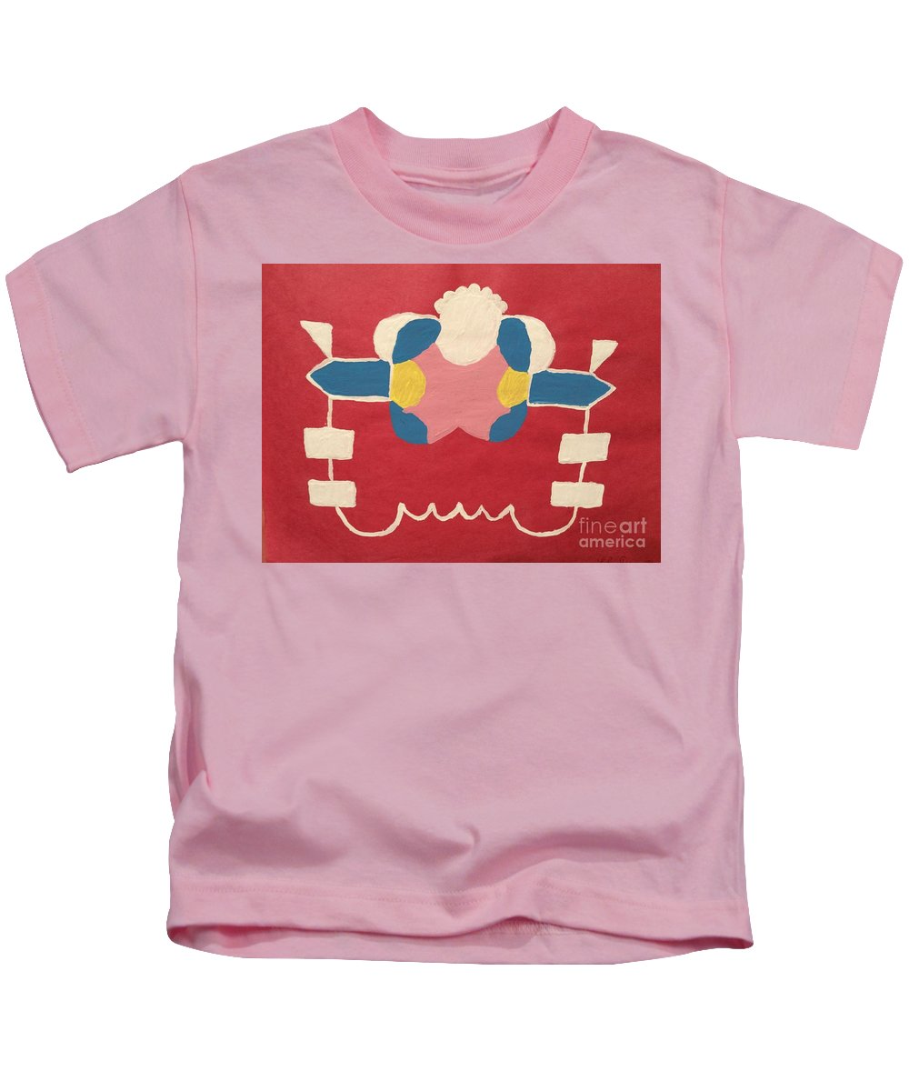 She's Strange In Blue White Red And Yellow Kids T-Shirt featuring the painting Just A Red Design by Lise Theodoridis