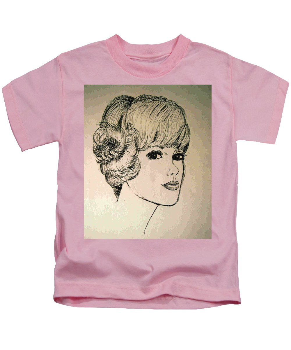 2d Kids T-Shirt featuring the drawing Just Another Pretty Face by Brian Wallace