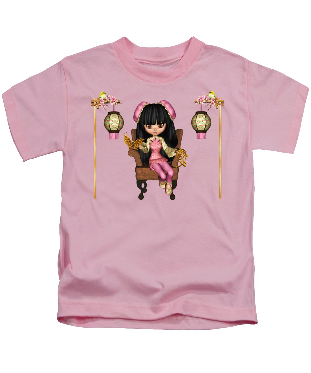 Kawaii China Doll Kids T-Shirt featuring the digital art Kawaii China Doll Scene by Dkate Smith