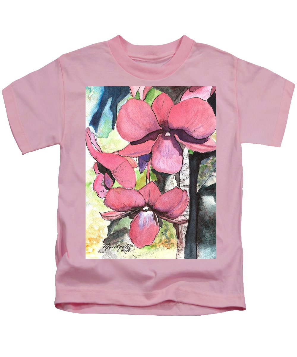 Orchid Kids T-Shirt featuring the painting Kiahuna Orchids by Marionette Taboniar
