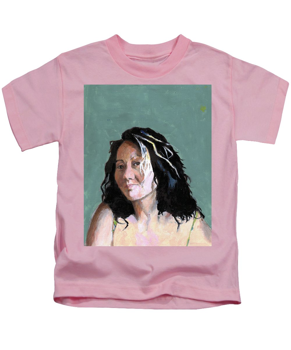 Portrait Kids T-Shirt featuring the painting Kimie In Acrylics by Richard Long